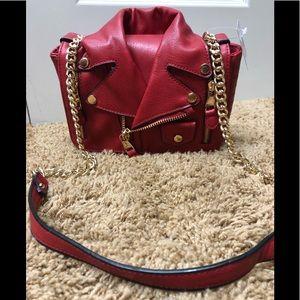 Motorcycle Jacket Moto Style Shaped Purse - Red